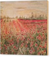 Sunset By The Poppy Fields Wood Print