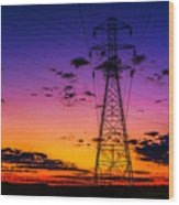 Sunset By The Wires Wood Print