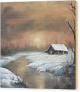 Sunset Cabin  Wood Print