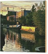 Sunset Canal Reflections Wood Print