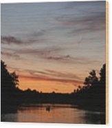 Sunset Canoe Wood Print