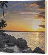 Sunset Caribe Wood Print