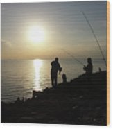 Sunset Catch, Nanticoke, Maryland Wood Print