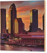 Sunset City Downtown By The River Wood Print