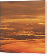 Sunset Clouds On Fire Wood Print