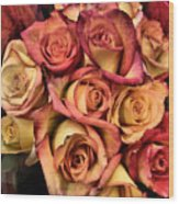 Sunset Colored Roses Wood Print