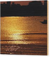 Sunset Country Boat Heading Towards Golden Rays Wood Print