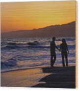 Sunset Couple Wood Print