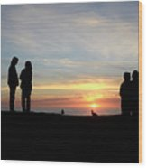Sunset Couples Wood Print