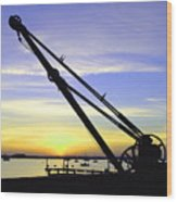 Sunset Crane Wood Print