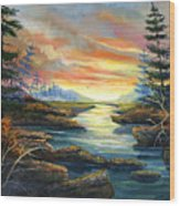 Sunset Creek Wood Print
