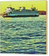 Sunset Cruise On The Ferry Wood Print