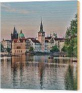 Sunset Cruise Prague Wood Print