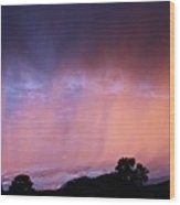 Sunset Curtain Wood Print