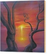 Sunset Dance Fantasy Oil Painting Wood Print