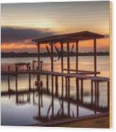 Sunset Dock Wood Print