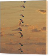 Sunset Falcons Stack Formation Wood Print