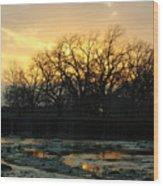 Sunset Falls Wood Print