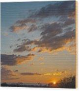 Sunset Farm Wood Print