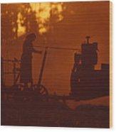 Sunset Female Amish Farmer Wood Print