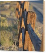 Sunset Fence Wood Print