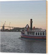 Sunset Ferry In Savannah Wood Print