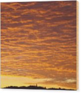 Sunset Fiery Orange Sunset Art Prints Sky Clouds Giclee Baslee Troutman Wood Print