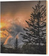 Sunset Fire Wood Print