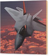 Sunset Fire F22 Fighter Jet Wood Print