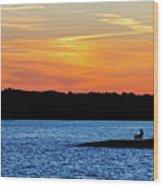 Sunset Fisherman  Wood Print