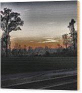Sunset Fog Wood Print