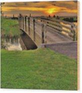 Sunset Foot Bridge Wood Print by Dale Stillman