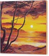 Sunset From A Carmel Cypress Tree  Wood Print