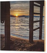 Sunset From Beneath The Pier Wood Print