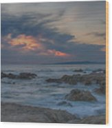 Sunset From Pacific Grove Wood Print