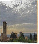 Sunset From San Gimignano Wood Print