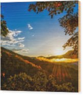 Sunset From The Blue Ridge Parkway Wood Print