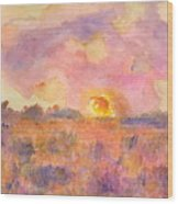 Sunset From The Road Wood Print