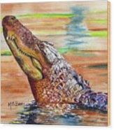 Sunset Gator Wood Print