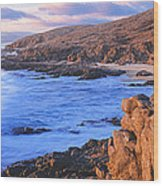 Sunset Glow Along Pacific Coast Wood Print