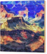 Sunset Glow At Mather Point Wood Print