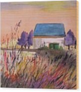 Sunset Grasses Wood Print by John Williams