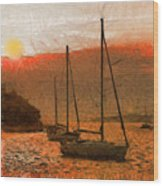 Sunset Harbor Wood Print