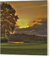 Sunset Hole In One The Landing Wood Print