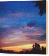Sunset In A Deep Blue Sky Line Wood Print