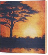 Sunset In Africa In Bright Orange Tones With A Tree Silhouette Beautiful Colorful Painting Wood Print