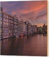 Sunset In Amsterdam Wood Print