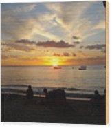 Sunset In Barbados Wood Print