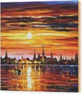 Sunset In Barcelona Wood Print