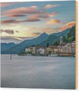 Sunset In Bellagio On Lake Como Wood Print